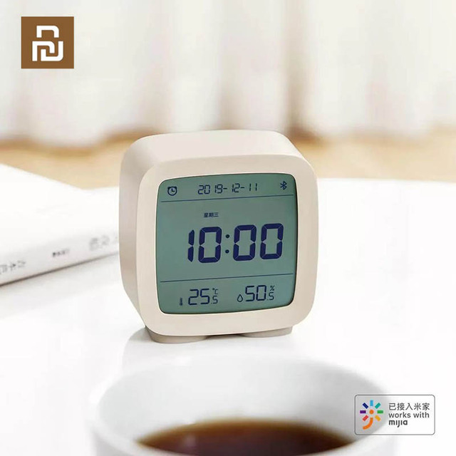 YouPin Bluetooth Alarm Clock Digital Thermometer Temperature and Humidity Monitoring Soft Night Light 3 In 1 Work with Mijia App