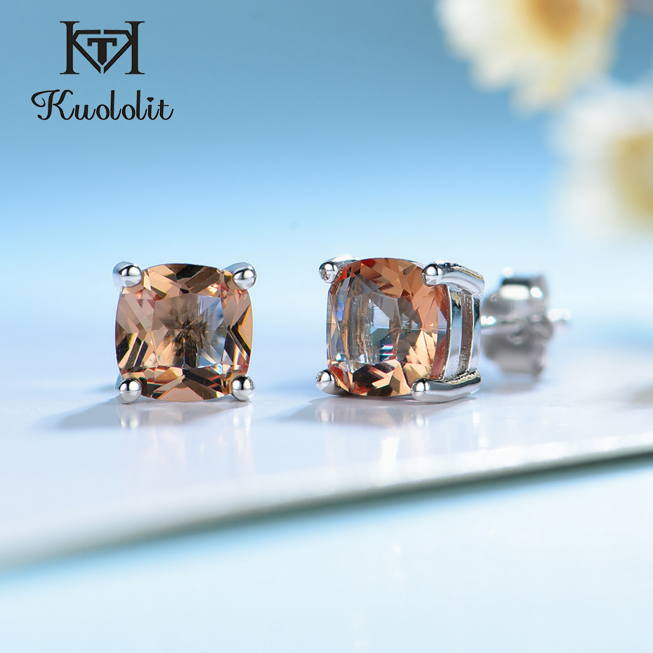 Kuololit Diaspore Gemstone Stud Earrings for Women Solid 925 Sterling Silver Color ChangingCushion Anniversary Gift Jewelry