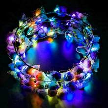 LED Glowing Women Girls Handmade Flower Head Wreath Tiara Headwear For Concert Party Supplies Random Color(China)