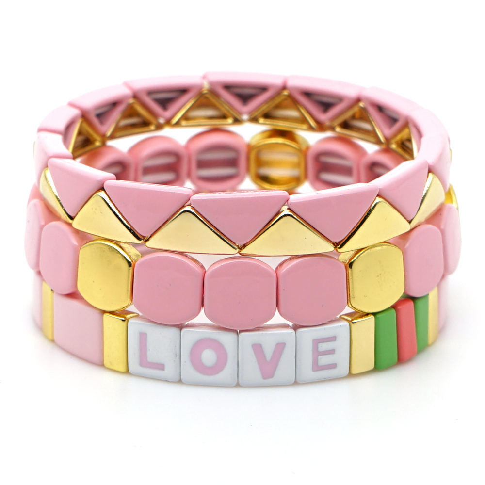 Shinus LOVE Letter Cuff Bracelet Bangle Enamel Tile Bracelets Women Bangles Bohemian Summe Colorful Pink Stretch Jewelry Gift(China)