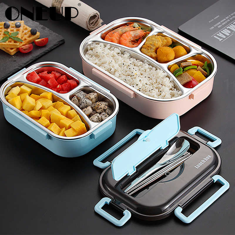 ONEUP Portable Compartment Insulated Lunch Box 2019 Japanese-style Office Worker Portable Separation Microwave Heating Bento Box