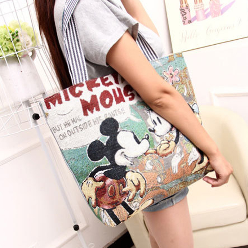 New Vintage Girl Women Canvas Shoulder-Bag Large HandBags Casual Totes Messenger Shopping All Purpose Crossbody Cute Cartoon Bag