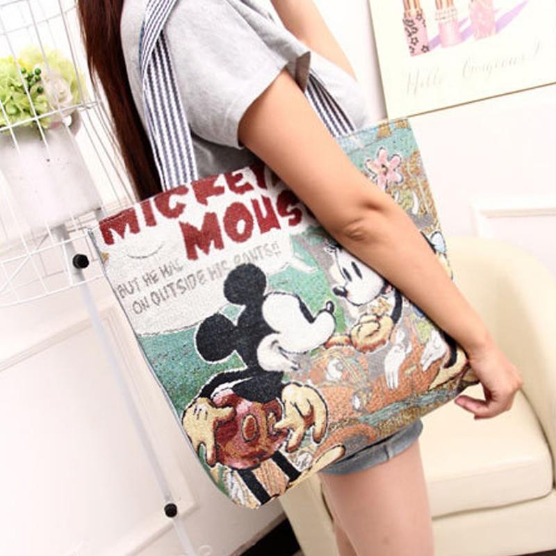 New Vintage Girl Women Canvas Shoulder-Bag Large HandBags Casual Totes Messenger Shopping All Purpose Crossbody Cute Cartoon Bag