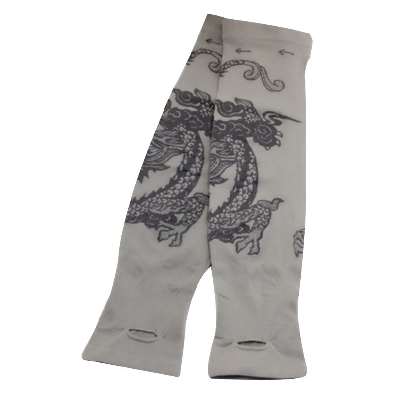 Women Men Summer Ice Silk UV Protection Arm Sleeves Cooling Sports Dragon Tattoo Printed Driving Fingerless Gloves Thumb Hole