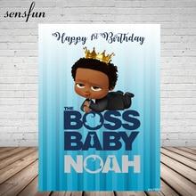 Sensfun Black Little Men Boss Baby Backdrop For Photo Studio Boys Birthday Party Photography Backgrounds 5x7ft Vinyl Polyester