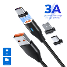 1M 3A Magnetic Micro USB Type C Cable Magnet Charger Mobile Phone Cable for iphone 8 X Huawei p40 Fast Charging USB C Data Cable magnetic usb cable micro usb usb c fast charging mobile phone magnet charger cable for iphone 11 xr huawei p30 microusb u type c