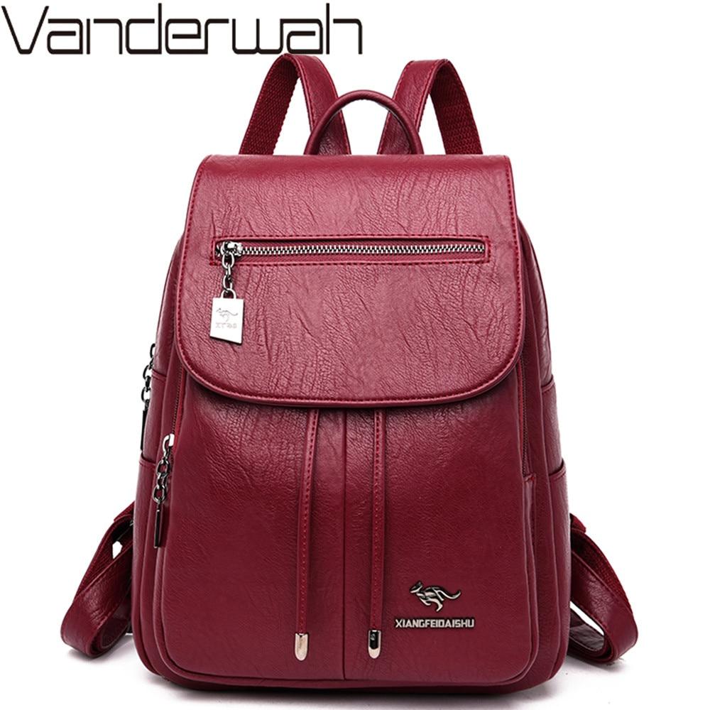 Luxury Women Backpacks 2019 Soft Leather Female Travel Shoulder  Bags Backpack High Quality School Bags For Girls Bolsa  MochilasBackpacks