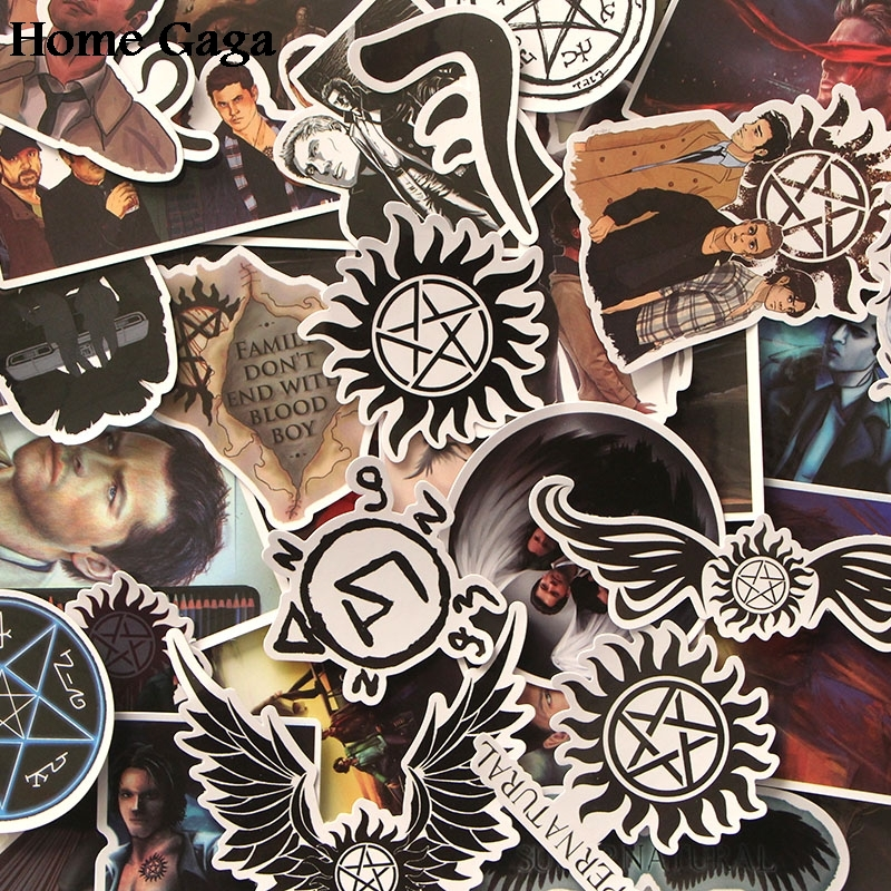 20sets/lot Homegaga 37pcs Supernatural SPN kids diy 90s Art print notebook phone laptop scrapbooking album decals sticker D1771 image