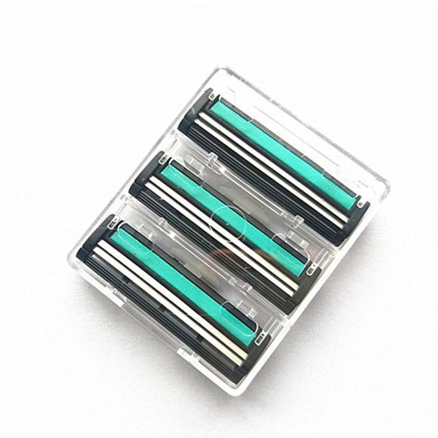 Lames de rasoir manuel, pour rasoir, soin du visage, 2 couches, 6 pièces, pour enlever la barbe et les poils