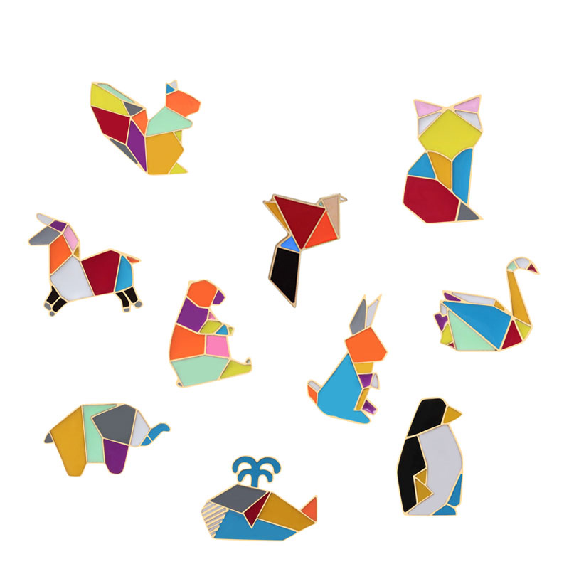 Colorful Metal Origami Animal Cartoon Brooches For Women Elephant Cat Rabbit Goose <font><b>Whale</b></font> Horse Bear Lapel Pins Men Badge Jewelry image