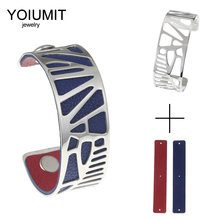 Cremo Argent Open Bangles For Women Bijoux Yoiumit Stainless Steel Bracelet Manchette Femme Interchangeable 25mm Leather Band(China)