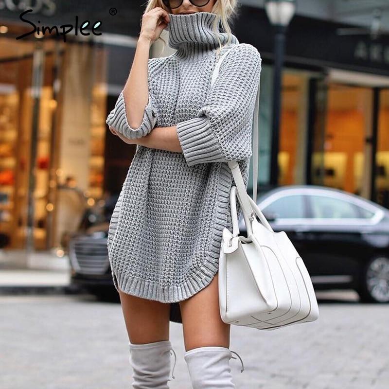 Simplee otoño medio manga de cuello alto Jersey de punto para mujer suave invierno alto dividido suéter jumper señoras femenino jumpers 2019 on AliExpress