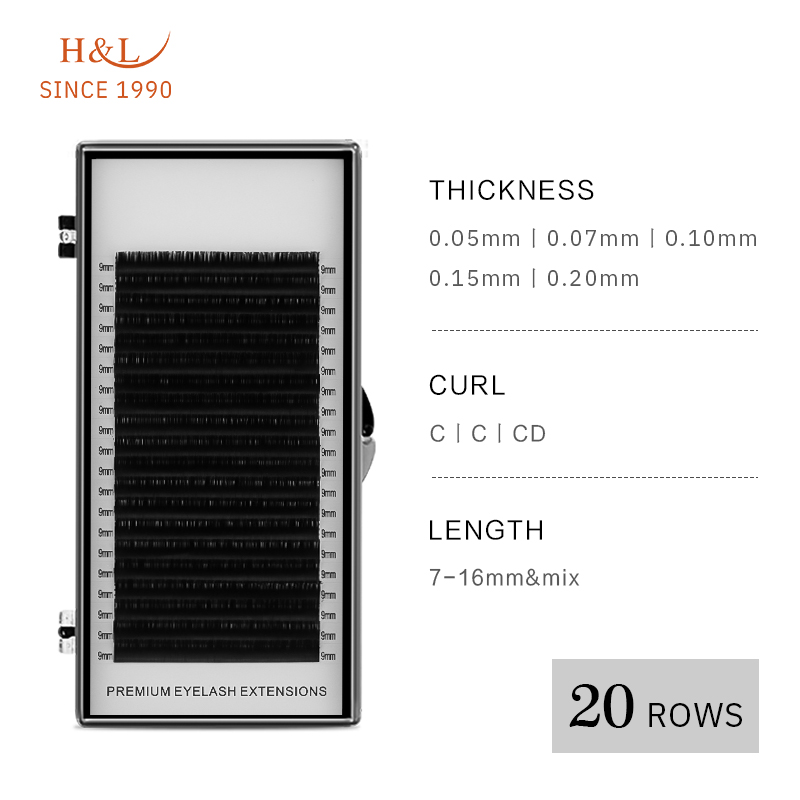 H&L SINCE 1990 20Rows Faux Mink Individual Eyelash Lashes Maquiagem Cilios For Professionals Soft Mink Eyelash Extension