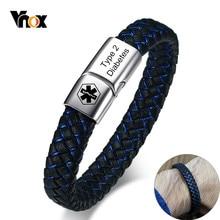 Vnox-pulsera médica personalizada con identificación para hombre, brazalete de cuero trenzado con cierre, para Diabetes, COPD, enfermero, joyería personalizada