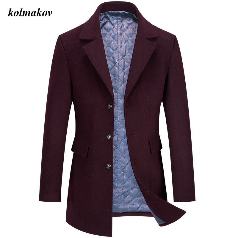 New Arrival Winter Style Men Boutique Leisure Woolen Coat High Quality Solid Single Button Men's Trench Woolen Overcoat M-4XL