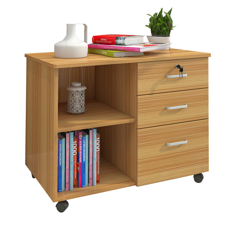 Wooden Office Cabinet Floor-to-ceiling Filing Cabinet Mobile Low Cabinet With Lock Three Drawer File Data Cabinet Storage