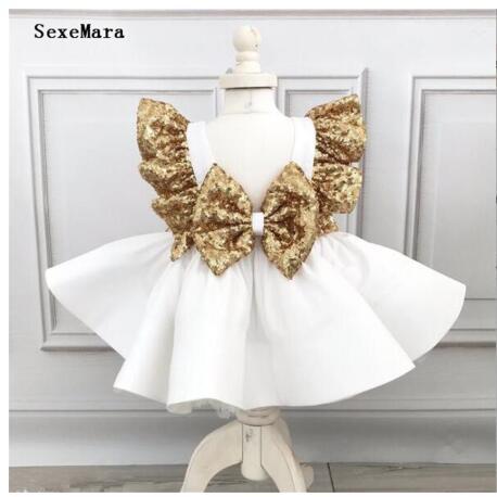 Nouvelle robe bébé fille en Satin blanc avec paillettes dorées nœud thé party tenue pour photoshoot ou mariage enfant taille 3m 6m 12m 18m 24m