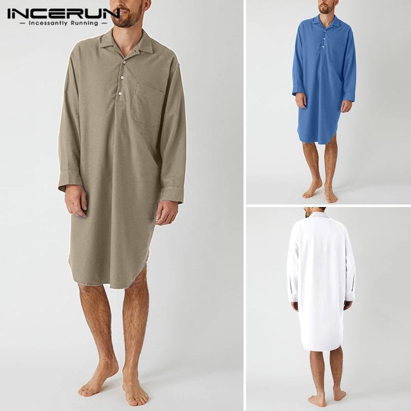 Leisure Sleep Robes Men Short Sleeve Lapel Sleepwear Solid Color Baggy Nightwear Man Fashion Loose Cotton Homewear S-5XL INCERUN