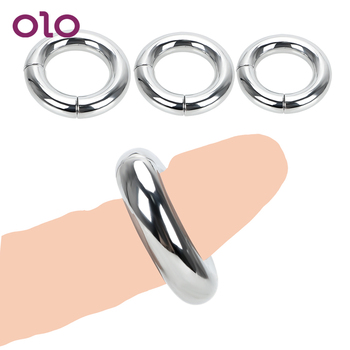цена на OLO Scrotum Stretcher  Sex Toys for Men 5 size Metal Penis Cock Lock Ring Heavy Duty Male Magnetic Ball  Delay Ejaculation