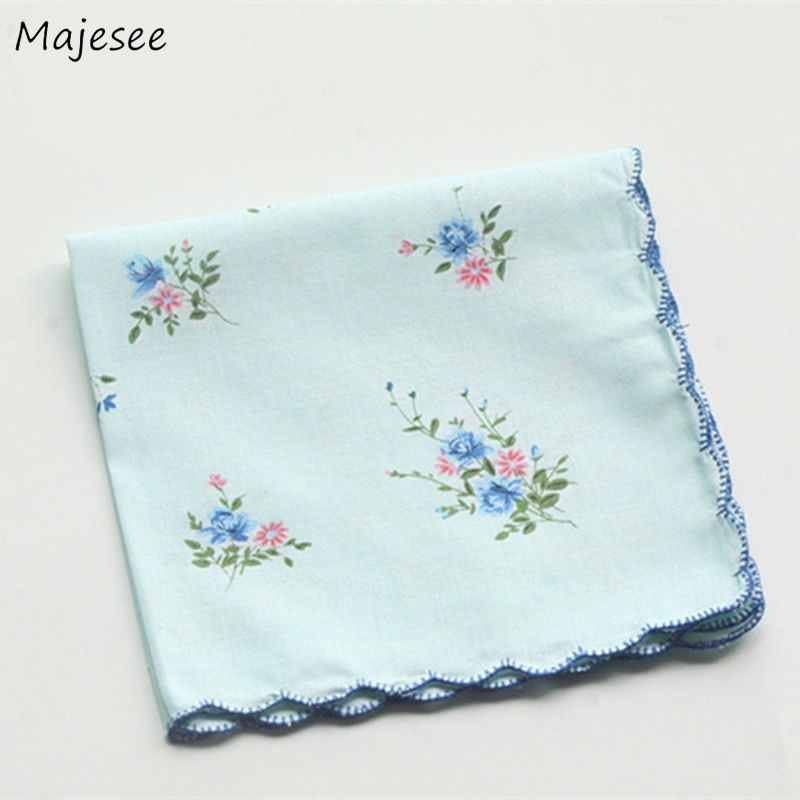 Handkerchiefs Women Elegant Vintage Floral Printed Soft High Quality Cotton Casual Fashion Chic Ladies Pocket Square Womens New