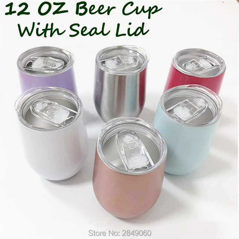 12oz Wine Tumbler Cup With Seal Lids Stainless Steel Wine Glasses Coffee Steel Cup Mug Vacuum Rose Gold Thermos Christmas Gift