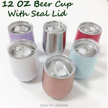 12oz Wine Tumbler Cup With Seal Lids Stainless Steel Glasses Coffee Mug Vacuum Rose Gold Thermos Christmas Gift