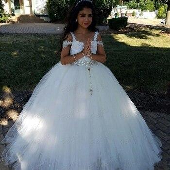 Newest White Flower Girls Dresses For Weddings Off Shoulder Crystal Waist Tulle Floor Length Indian Ball Gown Children Dresses