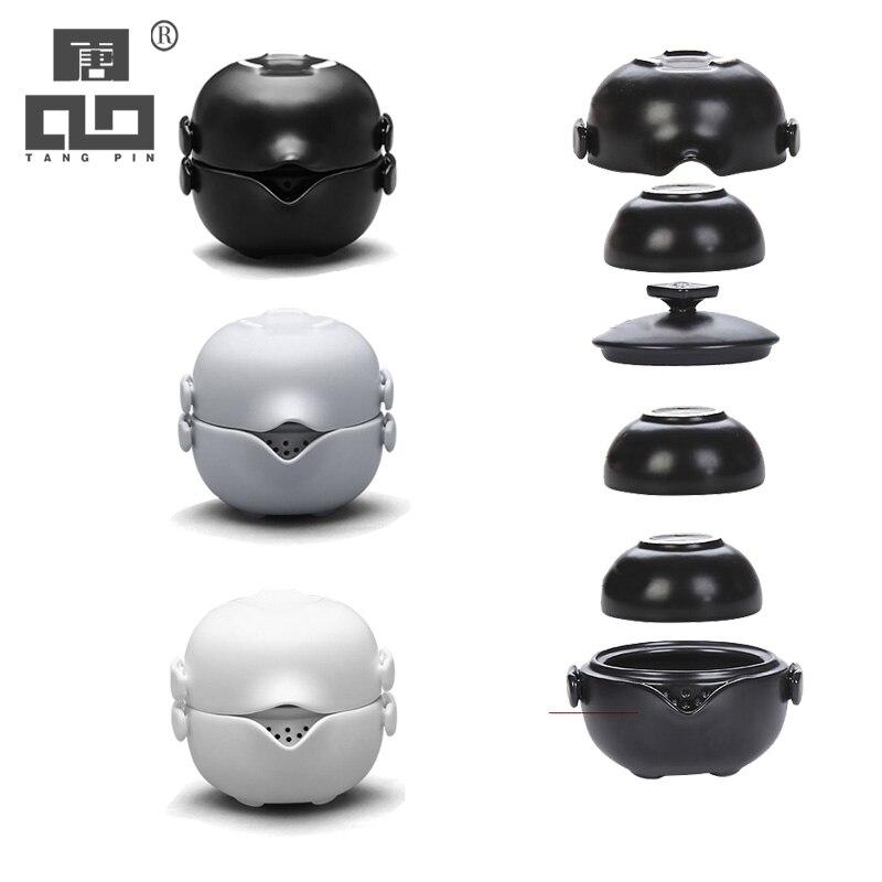 TANGPIN Ceramic Teapot Gaiwan With 3 Teacups Gaiwan Set Portable Travel Tea Set Drinkware