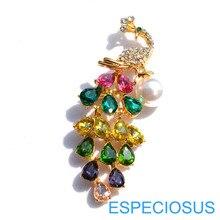 Модные ювелирные изделия Стразы Peafowl брошь золотистого цвета кристалл жираф булавка для женщин украшения Смешанные цвета жемчужная булавка пальто одежда