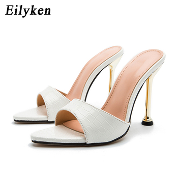 Eilyken Women slippers Snake Print Strappy Mule high heels Slippers Sandals flip flops Pointed toe Slides Party shoes Woman 11