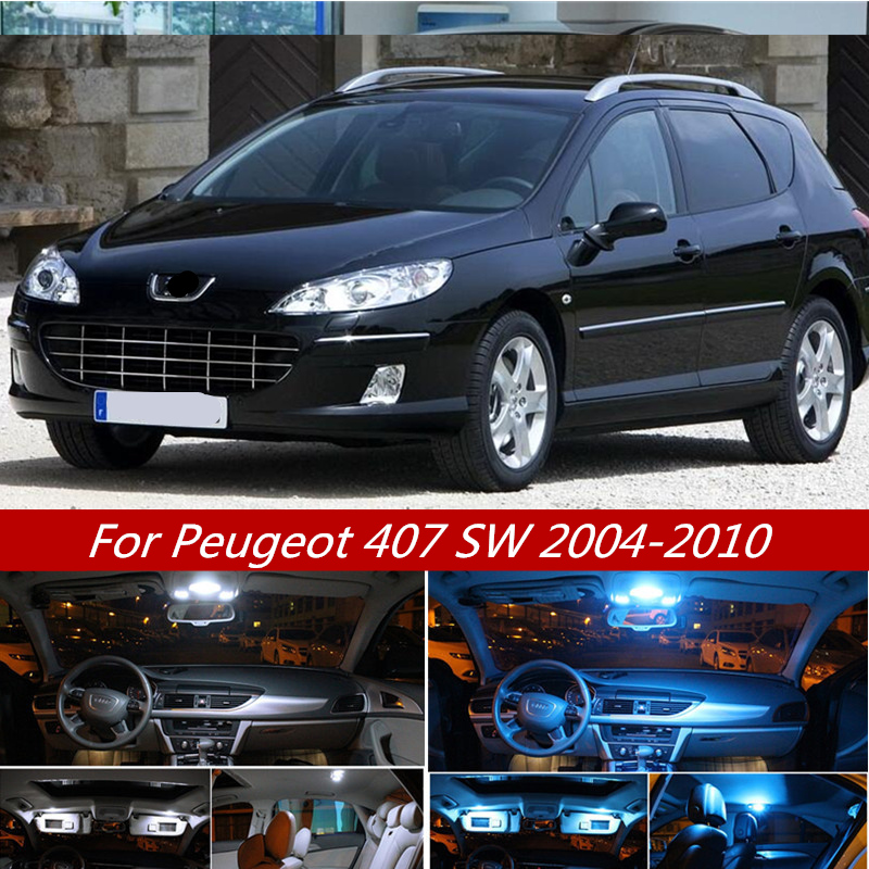 11Pcs Cool White Canbus LED Car Interior Light Kit For Peugeot 407 SW 2004-2010 Map Dome Trunk Glove Box License Plate Lights