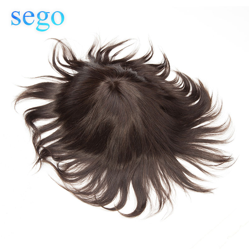 Sego 6 Inches Lace And PU Men Toupee 8