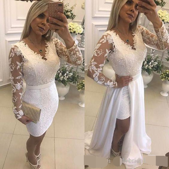 New White Pearls Short Party Evening Dresses With Detachable Skirt Illusion Long Sleeves Lace Formal Prom Dresses