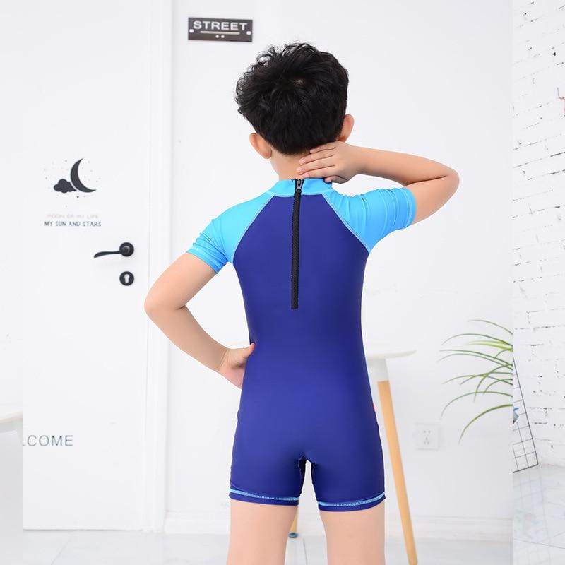 Kid's Swimwear Boy Children Teenager Split Type Boy's Swimming Trunks Set Students Short Sleeve One-piece Swimwear