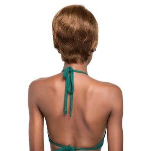 Image 3 - Ombre renk düz insan saçı peruk siyah kadınlar için X TRESS brezilyalı postiş 10 inç kısa Bob olmayan Remy saç peruk yan parça