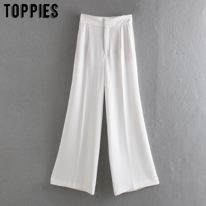 White Suit Pants High Waist Wide Leg Trousers Women 2020 Summer Pants Solid Color Women Clothing