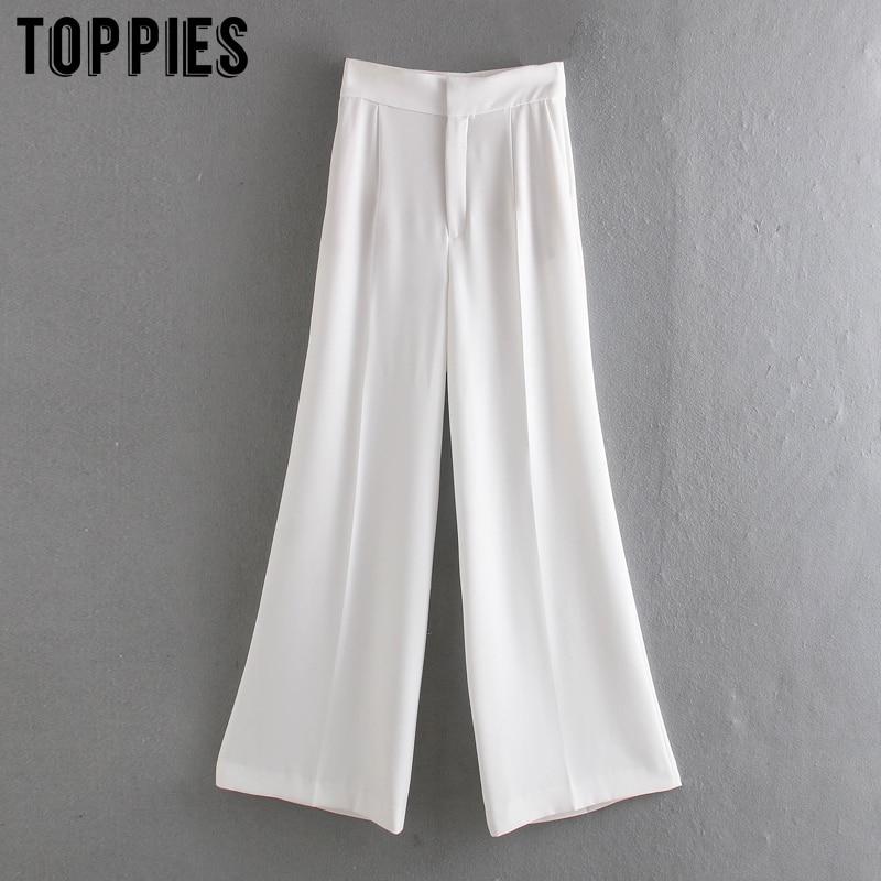 White Suit Pants High Waist Wide Leg Trousers Women 2020 Summer Pants Solid Color Women Clothing