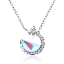 Moonstone S925 Sterling Silver Necklace Women Fashion Niche Necklace Moon Pendant Necklace Jewery Choker