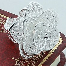 Rose Flower Open Ring Hollow Out Design Finger 925 Silver Color Luxury Fashion Jewelry Wedding Party Valentines Day Gift