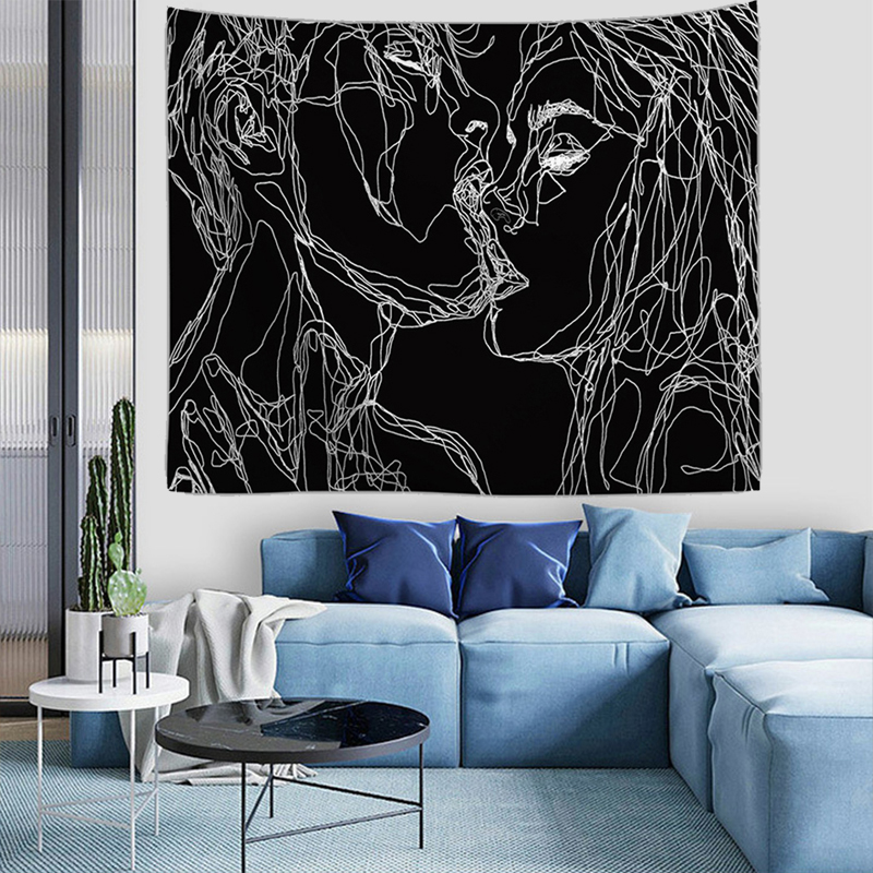 Drop Shipping Couple Kiss Hippie Wall Tapestry Polyester Line Draw Love Boho Decor Tapestry Wall Hanging Home Dorm Headboard Art