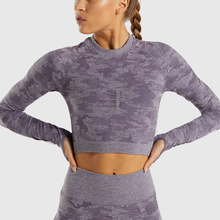 Zhangyunuo Camo Seamless Yoga Long Sleeve Thumb Holes Gym Fitness Running Crop Top Compression Workout Sportswear Sports Tops