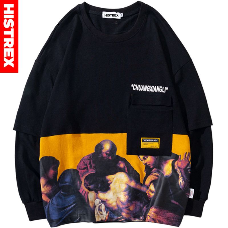 Hip Hop Sweatshirts Pullovers for Mens Crew Neck Large Long Sleeve Cotton Hoodied Sweater Shirts Tall Tops