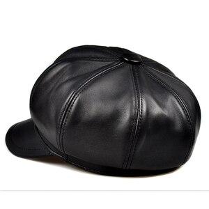 Image 4 - Prawdziwej skóry Beret kapelusz zima wiosna kapelusze dla kobiet malarz czapka gazeciarza Vintage Beret kobieta czarny Boinas styl angielski kapelusz
