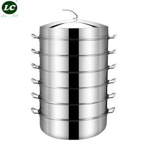 Image 1 - 23 inç pişirme buharlı tencere çok fonksiyonlu ekstra büyük ticari 60CM 3 6 katmanlı buharlı pişirme tenceresi Pot tencere çorba