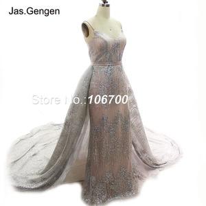 Image 2 - ローブ · ド · 夜会二枚グリッターイブニングドレスウェディングドレス取り外し可能な上ロング列車のスカートブライダルウエディングドレス新