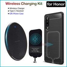 Huawei 명예를위한 무선 충전 9 10 20 30 Pro 20s V30 9X Pro Qi 무선 충전기 + USB 유형 C 수신기 어댑터 선물 TPU 케이스