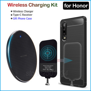 Image 1 - Wireless Charging for Huawei Honor 9 10 20 30 Pro 20s V30 9X Pro Qi Wireless Charger+USB Type C Receiver Adapter Gift TPU Case