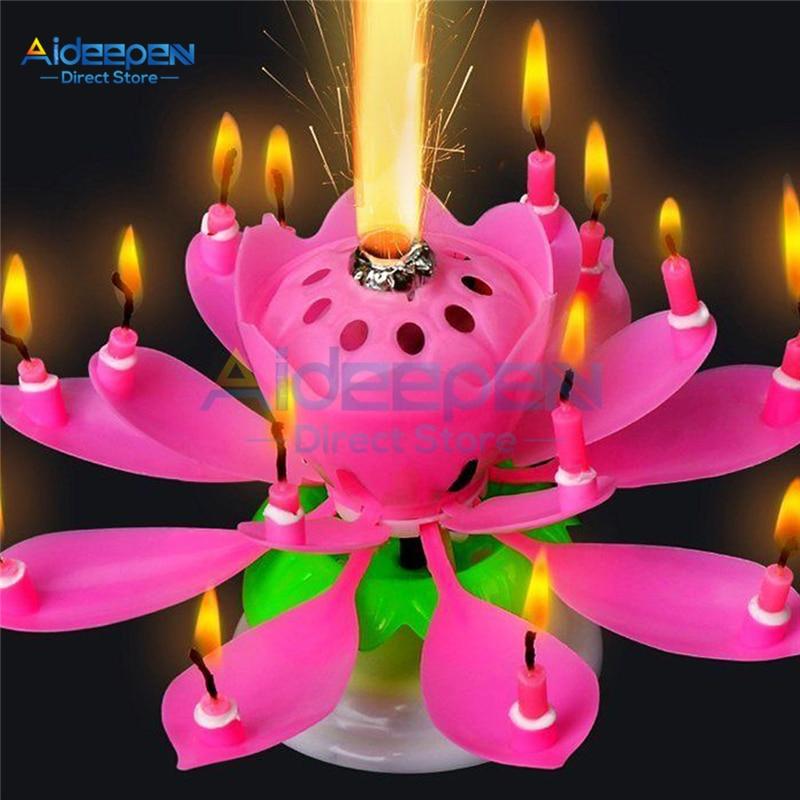 Свеча для торта, цветок лотоса, музыкальная свеча с днем рождения, художественная Свеча для украшения торта DIY, детский подарок, Свадебная вечеринка