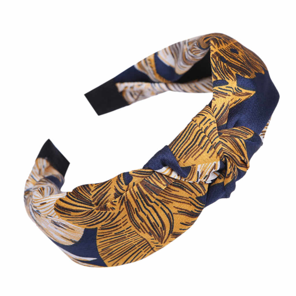 Croce Nodo Della Fascia delle Donne Accessori Per Capelli di stampa Tessuto Hairband Testa Wrap Fascia Per Capelli Ornamento Della Fascia Del Cerchio Dolce Ragazze Turbante