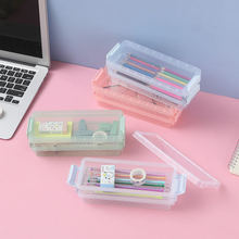 Creative Double Layers Pencil Bag Large Capacity Glasses Case Portable Clear Cosmetics Pencil Box Stationery Storage Box